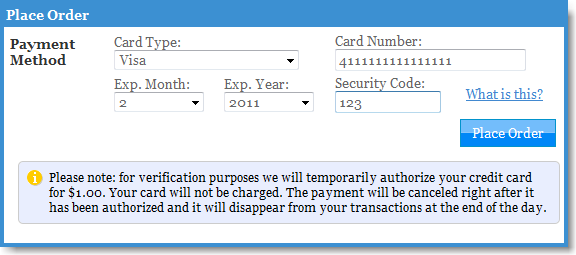 Card authorization notification message