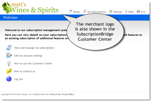 Example of store logo in the SubscriptionBridge Customer Center