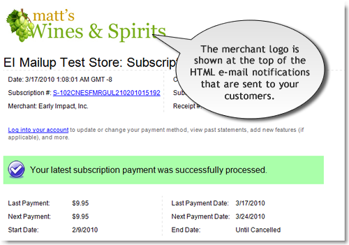 Example of store logo in SubscriptionBridge e-mail notification
