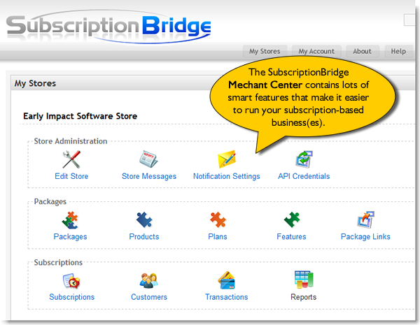 SubscriptionBridge Merchant Center home page