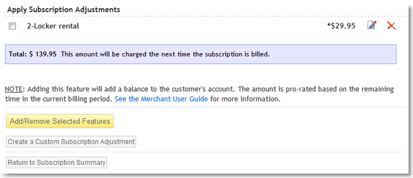 Adding a Custom Subscription Adjustment