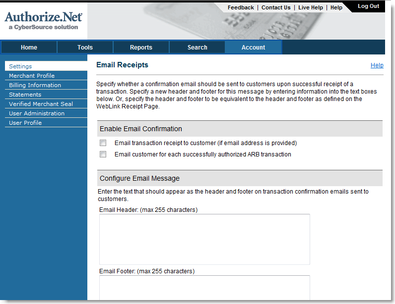 Authorize.Net E-mail Receipt Settings