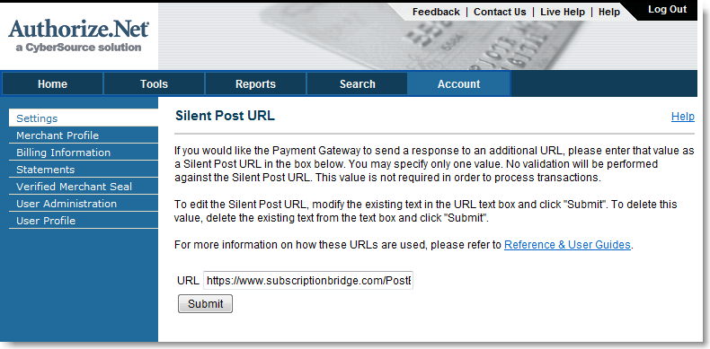Silent Post URL for Authorize.Net