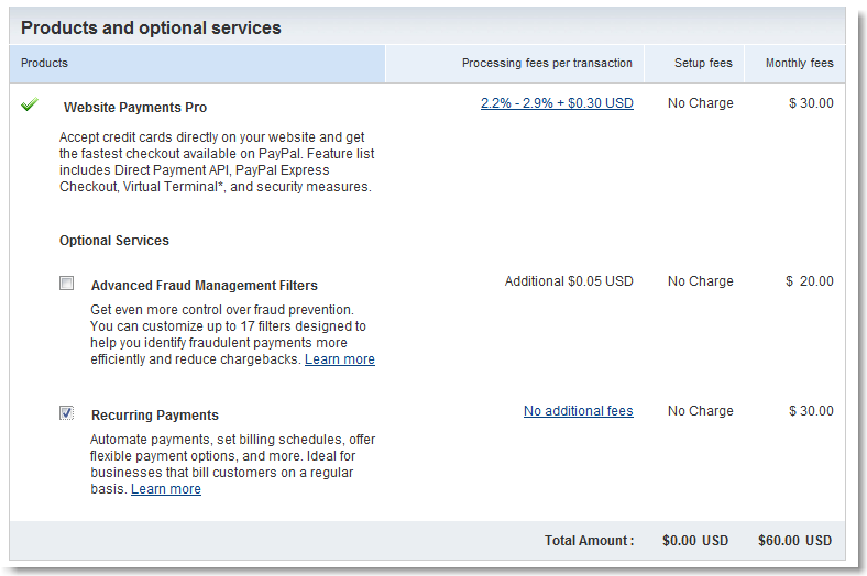 Setting up PayPal Website Payments Pro for recurring billing